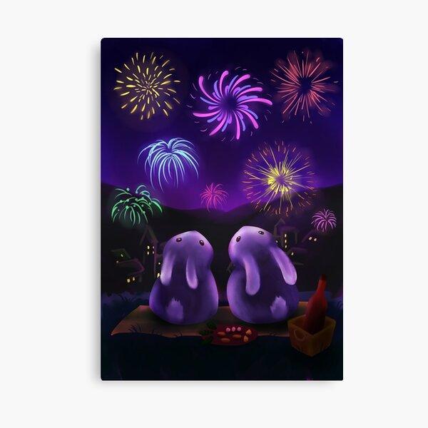 Chubby bunnies watch firework Canvas Print