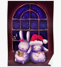 Chubby bunnies at christmas night Poster