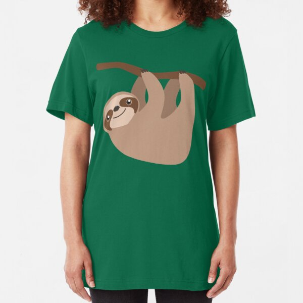 Cute Sloth on a Branch Slim Fit T-Shirt