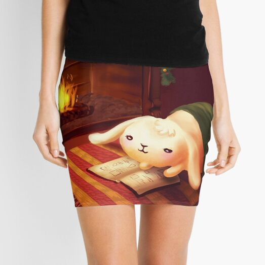 Chubby bunny by the fireplace Mini Skirt