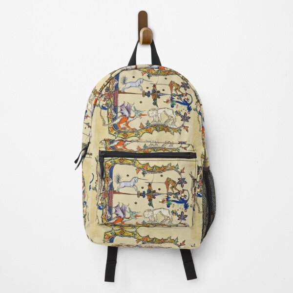 WEIRD MEDIEVAL BESTIARY ,UNICORN FIGHTING MONKEY ,DRAGON AND LION Backpack
