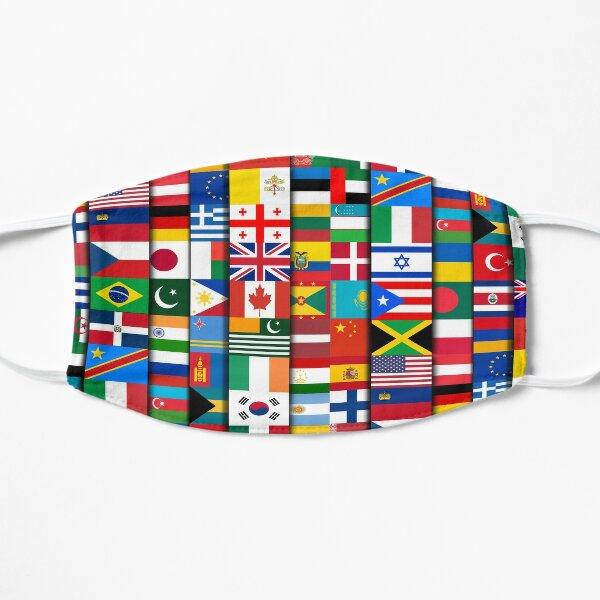 60 banderas de los países del mundo, regalo internacional Mascarilla plana