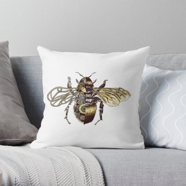 Clockwork Bee  Throw Pillow