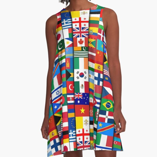 60 Flags of the Countries of the World, International Gift A-Line Dress