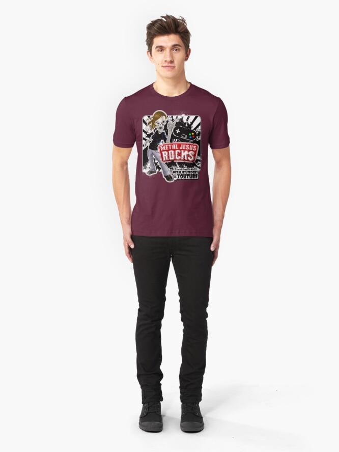 Alternate view of Undead Rocker - Metal Jesus Rocks (YOUTUBE) Slim Fit T-Shirt