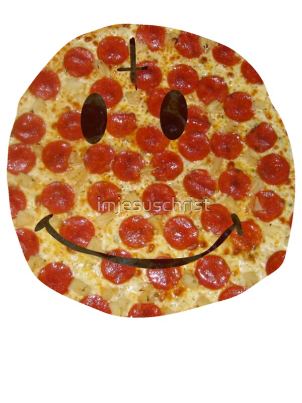 pizza smiley stickers by imjesuschrist redbubble. Black Bedroom Furniture Sets. Home Design Ideas