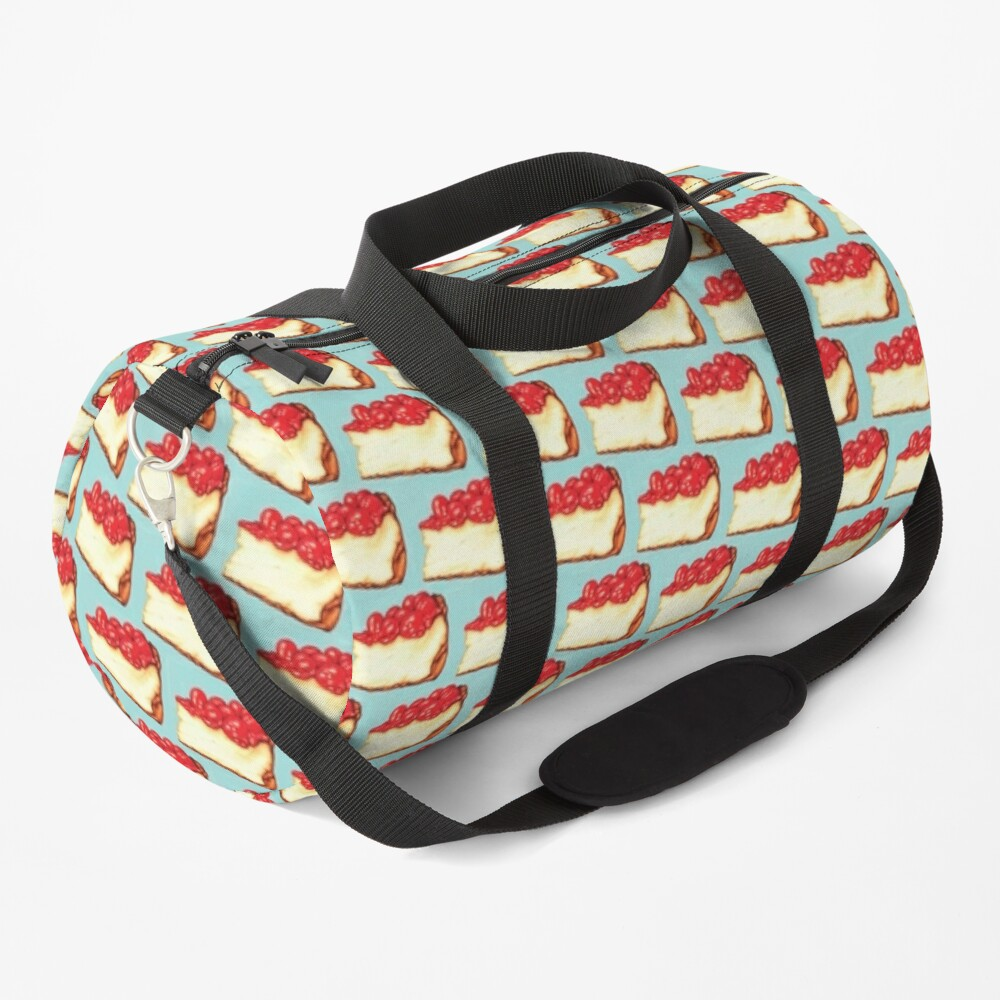 Cherry Cheesecake Pattern - Blue Duffle Bag