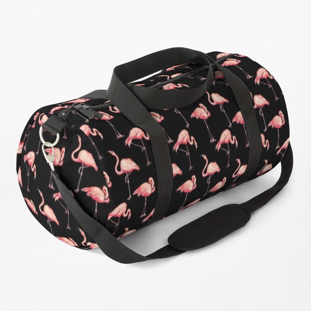 Flamingo Pattern - Black Duffle Bag