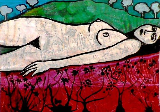 "Nude in a Landscape 1 -  Mixed Media by Belinda ""BillyLee"" NYE (Printmaker)"