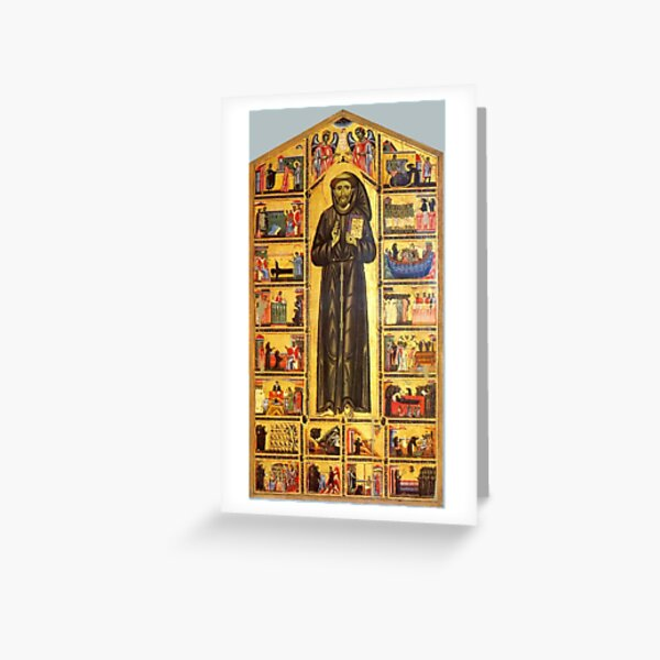Saint Francis of Assisi and scenes from his life, 13th century Greeting Card