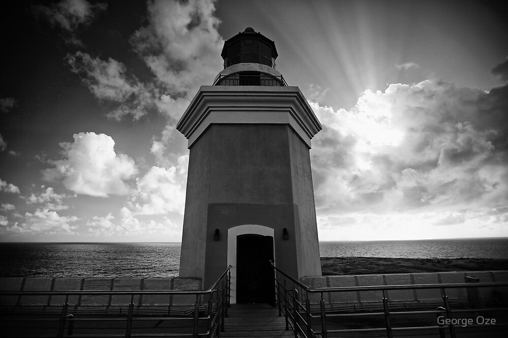 Lighthouse Tower Against Dramatic Sky by George Oze