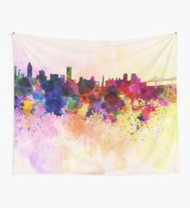 Montreal skyline in watercolor background Wall Tapestry