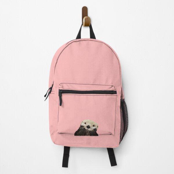 Cute Sea Otter on Pink Solid. Minimalist. Coastal. Adorable Backpack