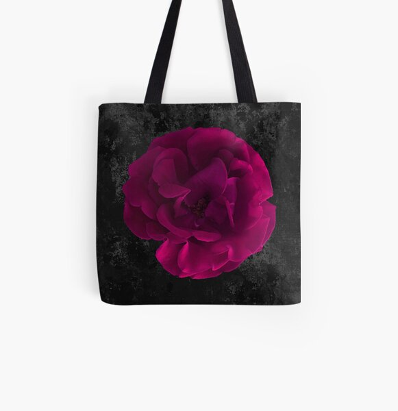 Fuschia Rose on Grunge Background All Over Print Tote Bag