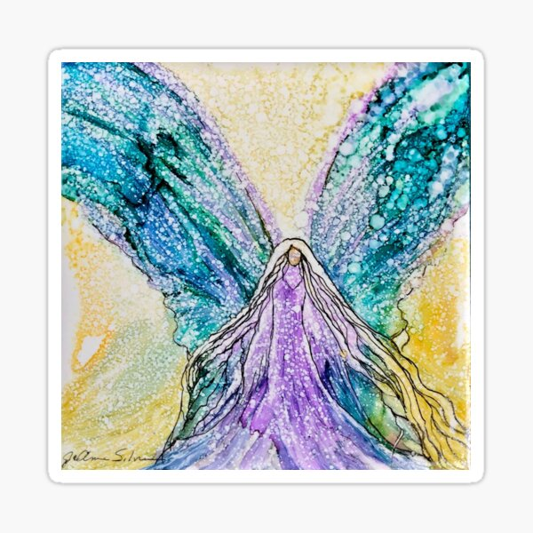 Angel in a Purple and Turquoise  Sticker