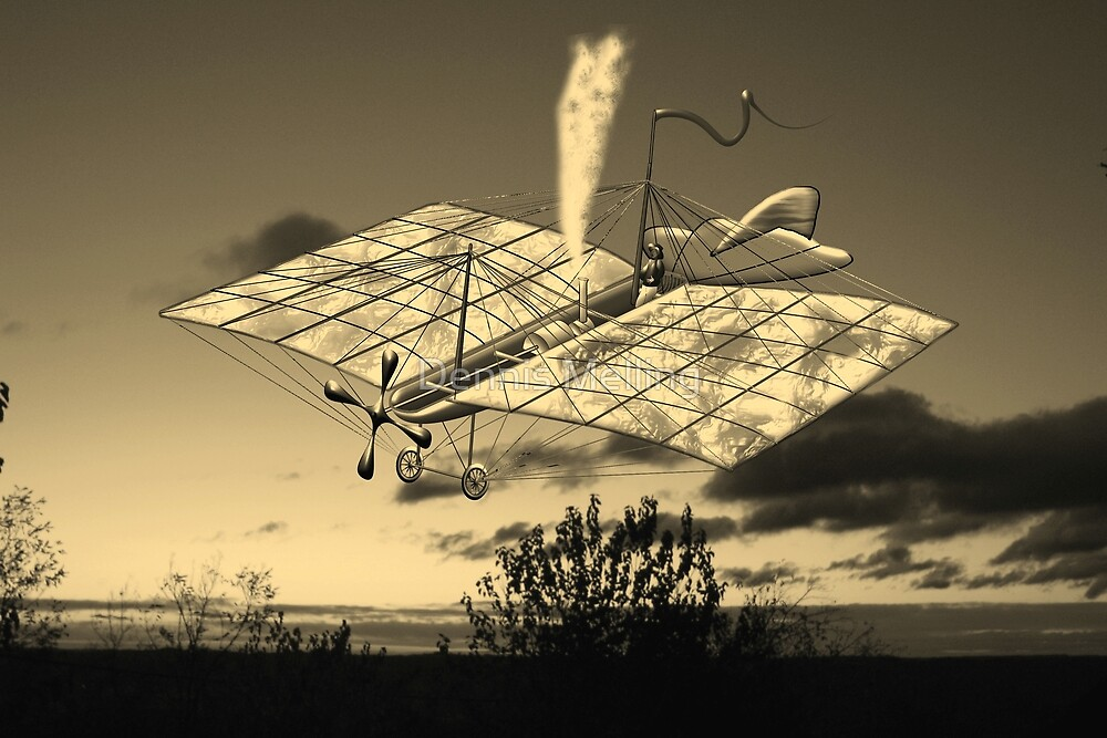 French Steam Powered Monoplane 1874 in sepia by Dennis Melling