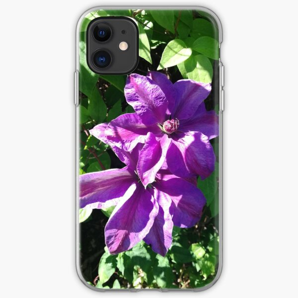 Purple clematis photograph iPhone Soft Case
