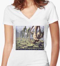 Camiseta entallada de cuello en V ilustración de ciclismo INFIERNO DEL NORTE retro Paris Roubaix