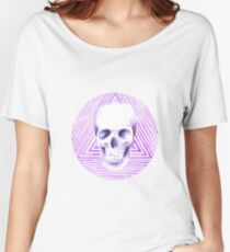 skull watercolor circle Women's Relaxed Fit T-Shirt