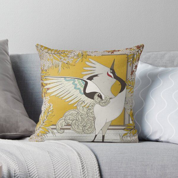 Dancing Elegant Crane Throw Pillow By Totallypic Redbubble