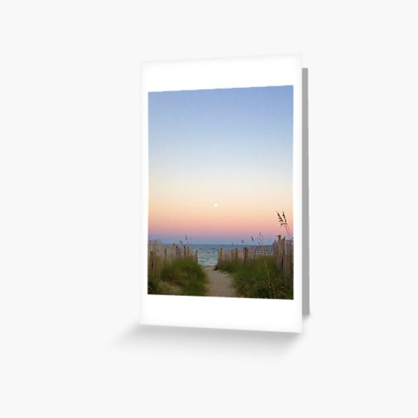 Sunset Moonrise at the Beach Greeting Card