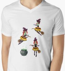 Dark Witch with Broom 2 Mens V-Neck T-Shirt