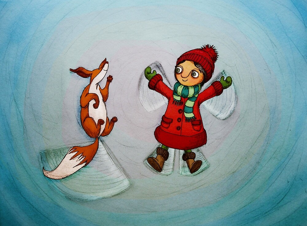 Snow Angels (Fox and Girl) by Maia Walczak