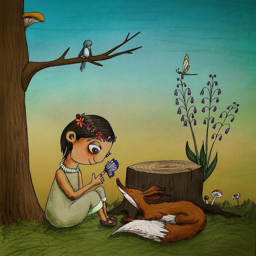 Contemplation (Fox and Girl) by Maia Walczak