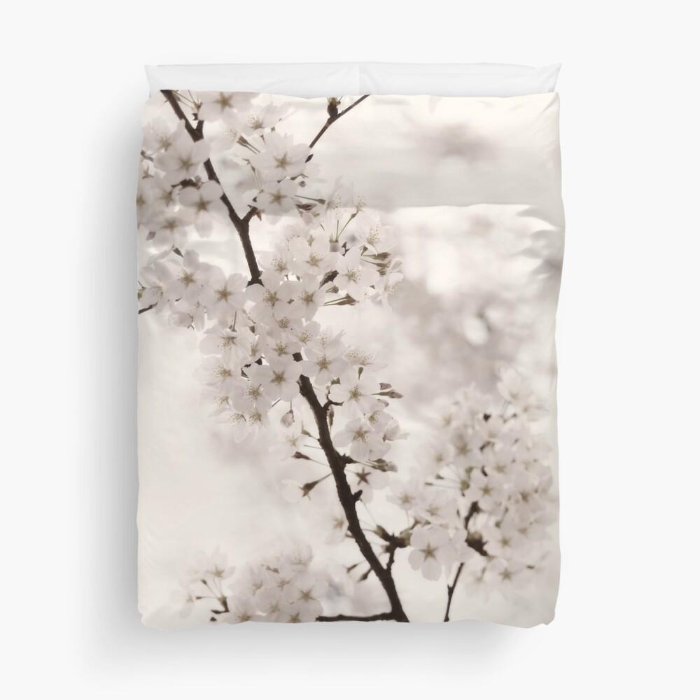 Cherry blossom artistic closeup sepia toned art photo print Duvet Cover
