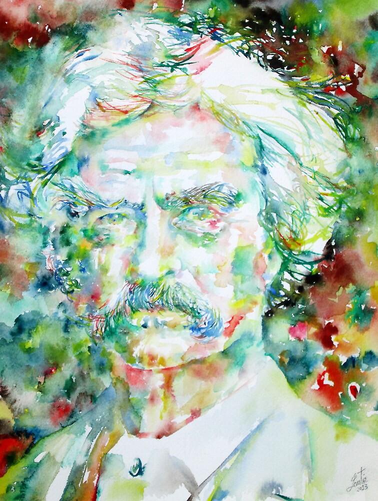 MARK TWAIN - watercolor portrait by lautir