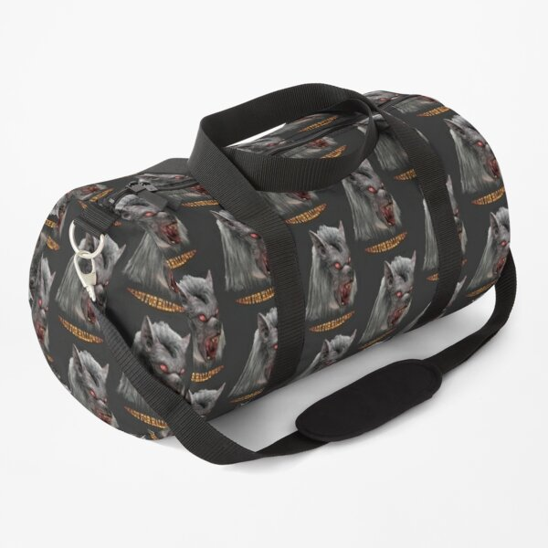 Halloween gray werewolf with red eyes Duffle Bag