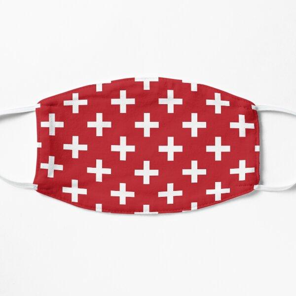 Crosses | Criss Cross | Swiss Cross | Hygge | Scandi | Plus Sign | Red and White |  Flat Mask