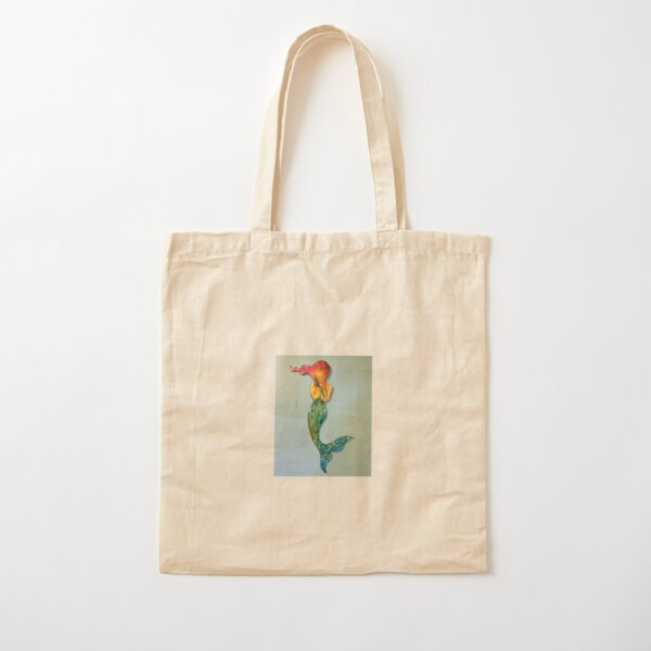 Mermaid with Red Hair Cotton Tote Bag