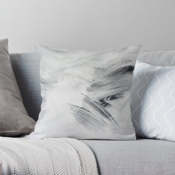 Black, White and Grey Abstract Paint Design Throw Pillow