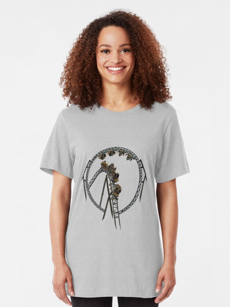 Alternate view of Time Traveller Rollercoaster Design Slim Fit T-Shirt