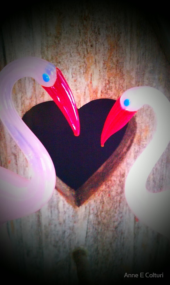 Heartfelt Flamingo's  by Anne E Colturi