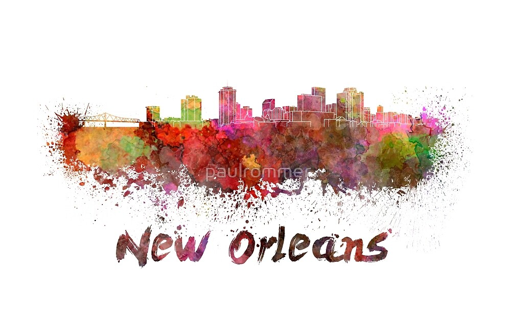 New Orleans skyline in watercolor by paulrommer