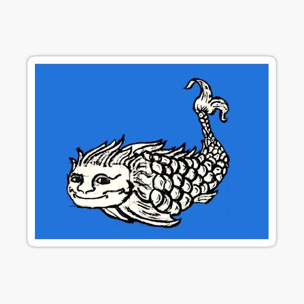 Happy Woodcut Style Whale, Flag of Kola Sticker