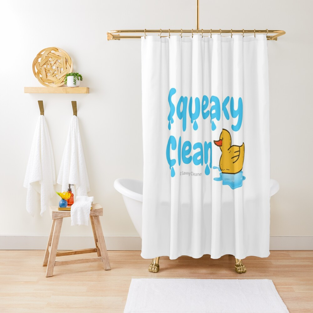 Squeaky Clean Rubber Duckie Cleaning Housekeeping Cleanup Shower Curtain