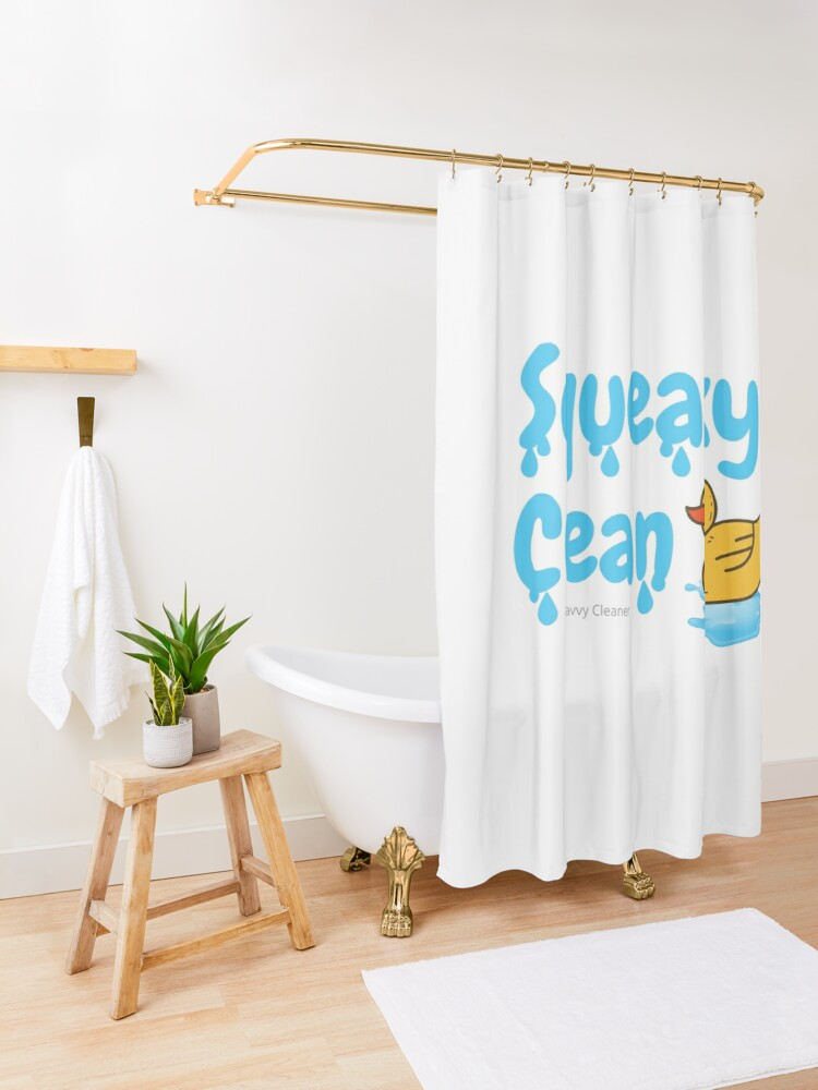 Alternate view of Squeaky Clean Rubber Duckie Cleaning Housekeeping Cleanup Shower Curtain