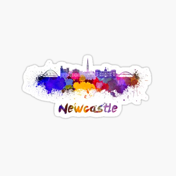 Newcastle skyline in watercolor Sticker