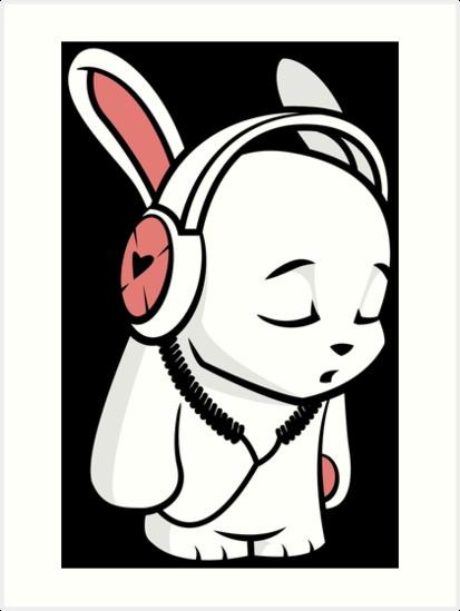 """Love Music Cartoon Bunny with headphones"" Art Prints by ..."