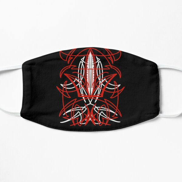 Red Over White Pinstripe Mask