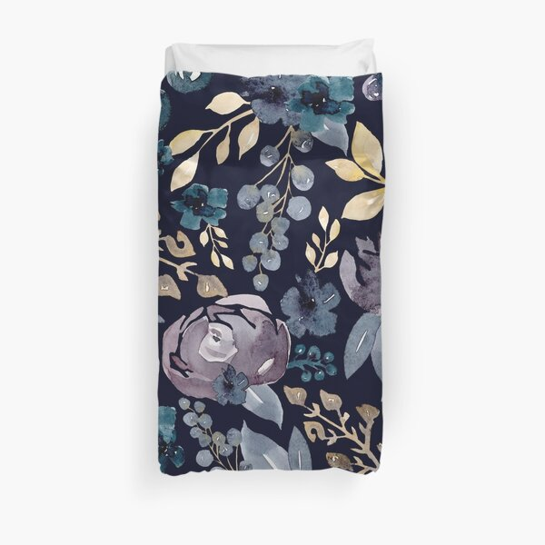 Watercolor Fall Florals + Berries On Navy Blue Duvet Cover
