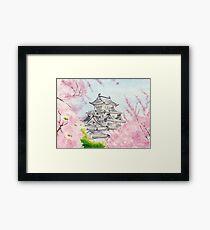 Himeji Castle , Art Watercolor Painting print by Suisai Genki Framed Print