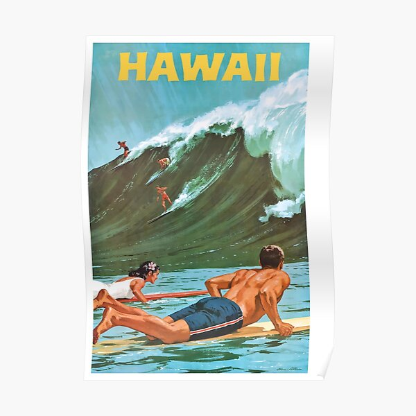1960 Hawaii Big Wave Surfing Travel Poster Poster