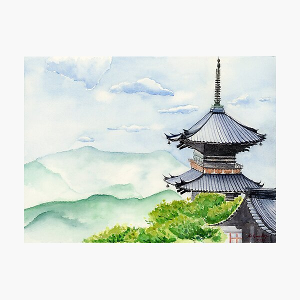 Japanese Temple, Kyoto , Kiyomizudera , Art Watercolor Painting print by Suisai Genki Photographic Print