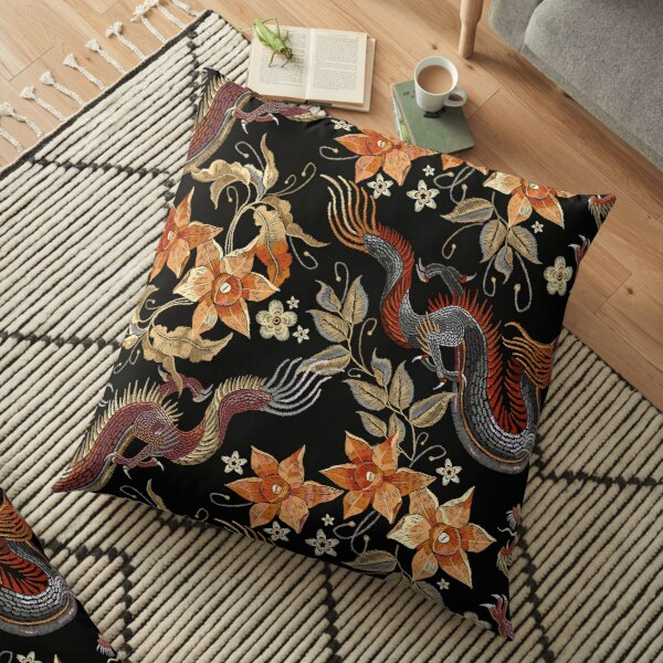 Dragons and flowers Floor Pillow