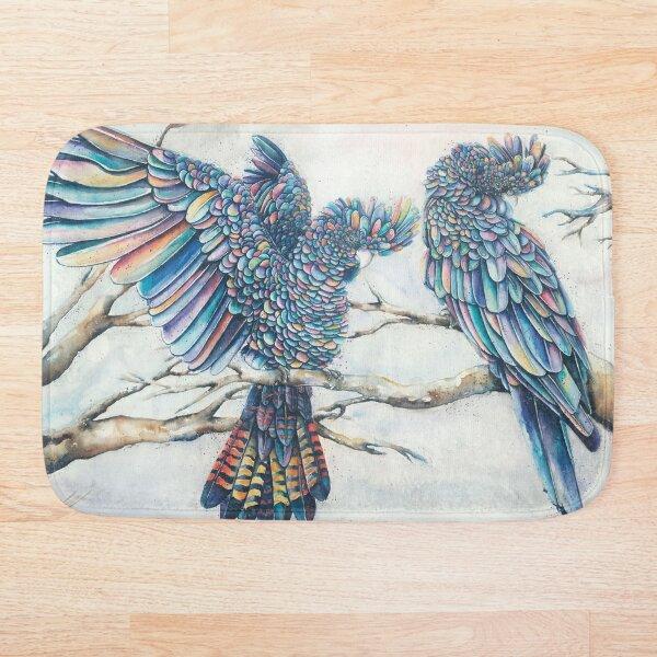 Black Cockatoo Pair - Rainbow Bath Mat
