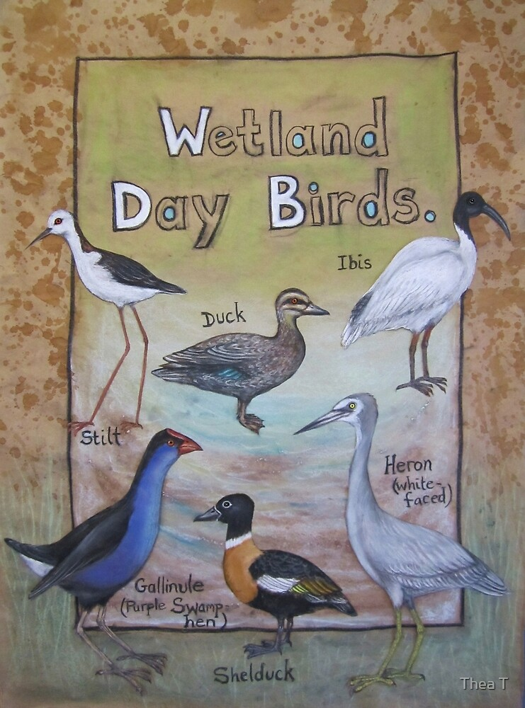 Wetland Day Birds by Thea T